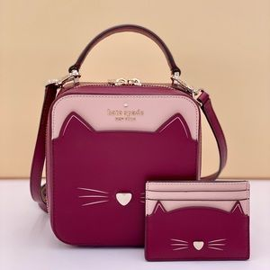 Kate Spade Meow Cat Crossbody and Small Slim Cardholder
